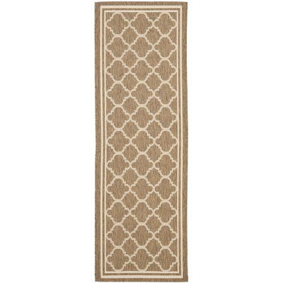 Short Brown/Bone Outdoor Area Rug Rug Size: Runner 23 x 20
