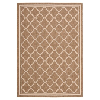 Short Brown & Bone Outdoor Area Rug Rug Size: 67 x 96
