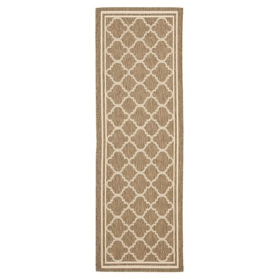 Short Brown/Bone Outdoor Area Rug Rug Size: Runner 24 x 911