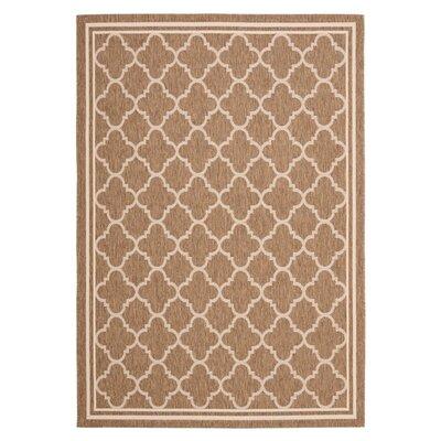 Short Brown & Bone Outdoor Area Rug Rug Size: 53 x 77