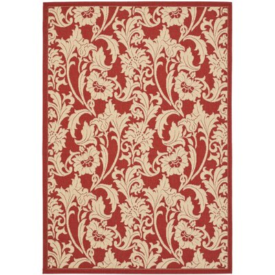 Short Red / Creme Outdoor Area Rug Rug Size: Rectangle 27 x 5