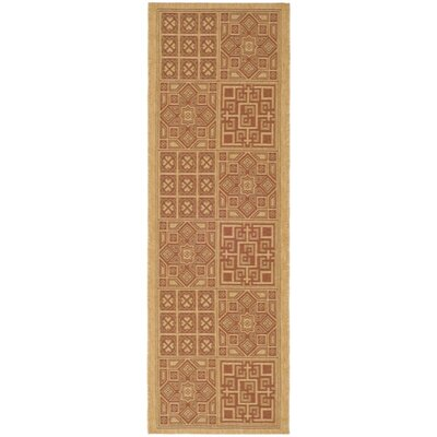 Short Dark Brick Outdoor Rug Rug Size: Runner 23 x 8