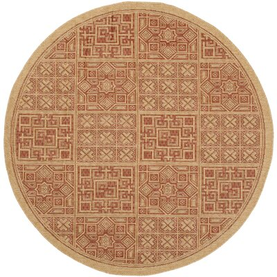 Short Dark Brick Outdoor Rug Rug Size: Round 67