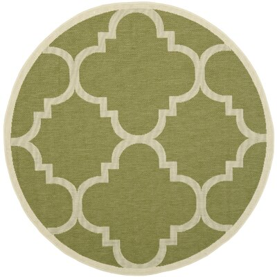Welby Lattice Green Area Rug Rug Size: Round 67