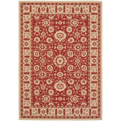 Short Red / Creme Outdoor Sisal Area Rug Rug Size: Rectangle 27 x 5