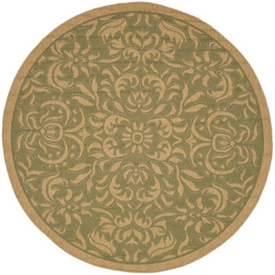 Welby Light Green/Tan Outdoor Rug Rug Size: Round 67