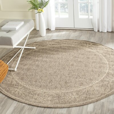 Short Brown Outdoor Area Rug Rug Size: Round 53