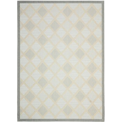 Short Light Grey / Anthracite Woven Indoor/Outdoor Rug Rug Size: 53 x 77
