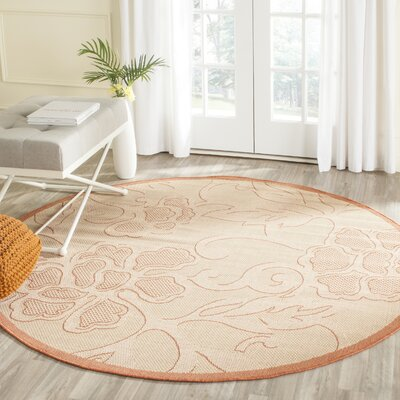 Short All Over Neutral Outdoor Area Rug Rug Size: Round 67