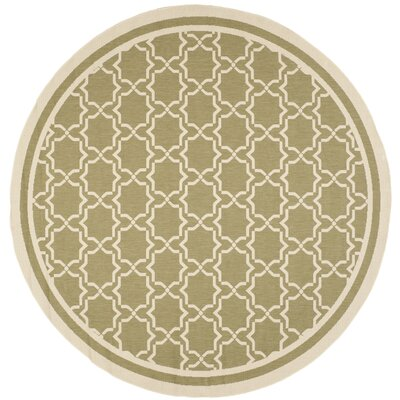 Short Green/Beige Indoor/Outdoor Rug Rug Size: Round 710