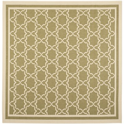 Short Green/Beige Indoor/Outdoor Rug Rug Size: Square 710