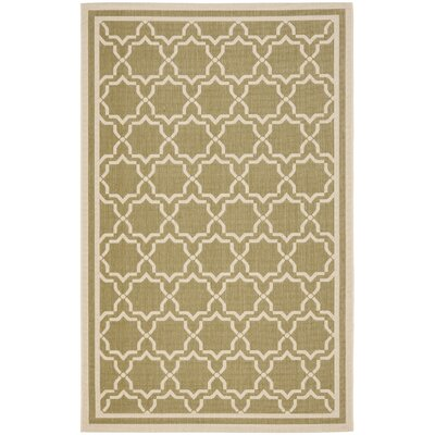 Short Green/Beige Indoor/Outdoor Rug Rug Size: 53 x 77