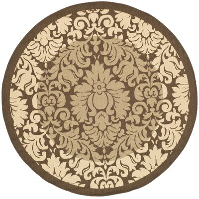 Short Natural/Brown Outdoor Area Rug Rug Size: Round 67