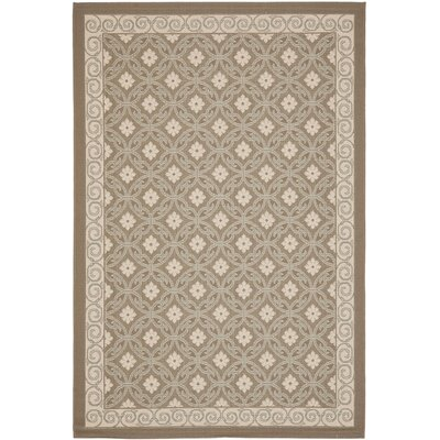 Short Dark Beige / Beige Woven Indoor/Outdoor Rug Rug Size: 53 x 77