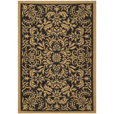Short Dark Black Outdoor Rug Rug Size: Rectangle 53 x 77