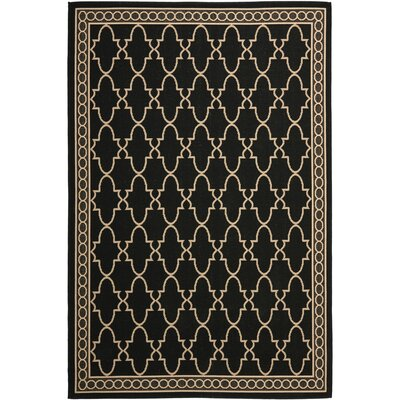 Short Black & Sand Checked Area Rug