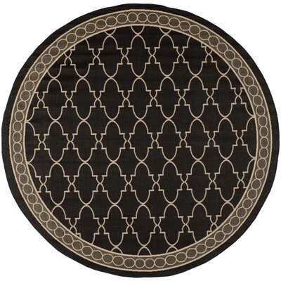 Short Black & Sand Checked Area Rug Rug Size: Round 710