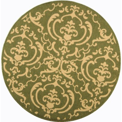 Short Olive/Natural Outdoor Rug Rug Size: Round 67