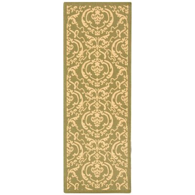 Short Olive/Natural Outdoor Rug Rug Size: Runner 24 x 911