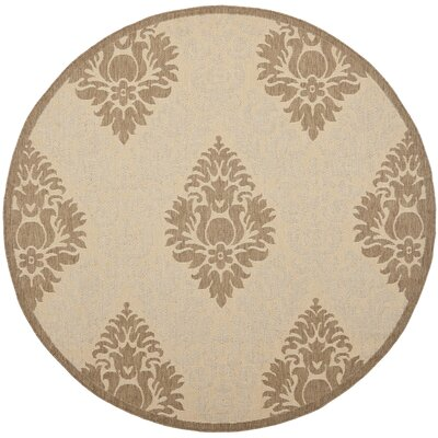 Short Transitional Durable Outdoor Rug Rug Size: Round 53