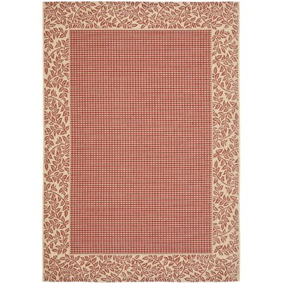 Short Woven Red / Natural Indoor/Outdoor Rug Rug Size: Rectangle 53 x 77