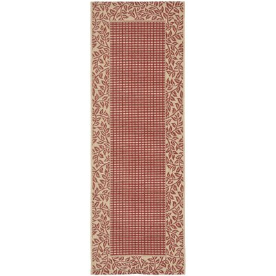 Short Woven Red / Natural Indoor/Outdoor Rug Rug Size: Runner 24 x 911