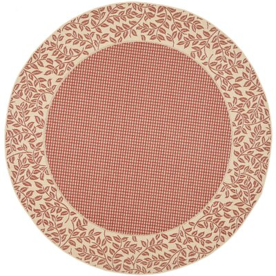 Short Woven Red / Natural Indoor/Outdoor Rug Rug Size: Round 67