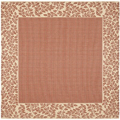 Short Woven Red / Natural Indoor/Outdoor Rug Rug Size: Square 67