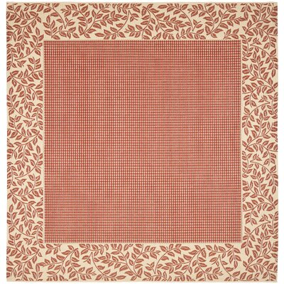 Short Woven Red / Natural Indoor/Outdoor Rug Rug Size: Square 710
