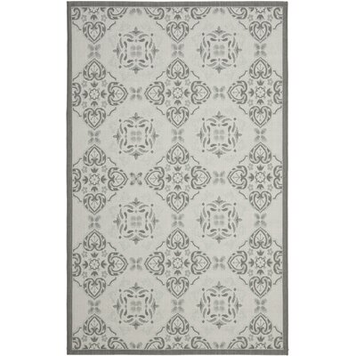 Short Light Grey/Anthracite Indoor/Outdoor Synthetic  Rug Rug Size: 53 x 77