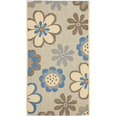 Short Natural Brown/Blue Outdoor Rug Rug Size: Rectangle 53 x 77