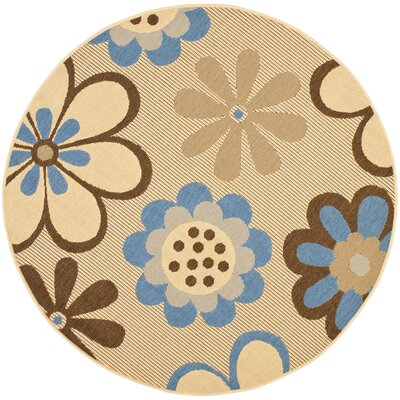 Welby Natural Brown/Blue Outdoor Rug Rug Size: Round 53