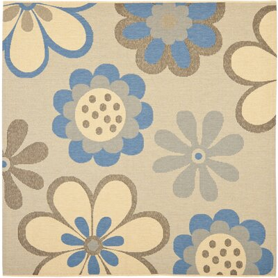 Welby Natural Brown/Blue Outdoor Rug Rug Size: Square 67