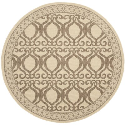 Short Natural/Brown Outdoor Rug Rug Size: Round 5'3