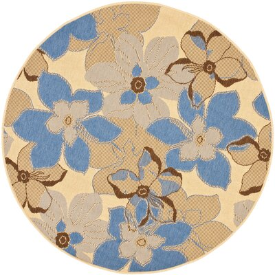 Short Natural Brown / Blue Woven Contemporary Rug Rug Size: Round 67