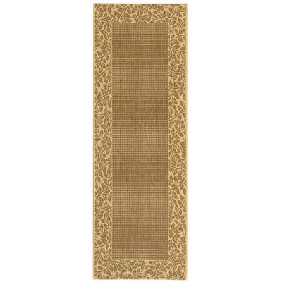 Short Brown / Natural Outdoor Area Rug Rug Size: Runner 24 x 911