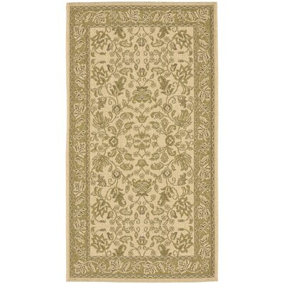 Welby Cream / Olive Outdoor Area Rug Rug Size: Runner 27 x 5