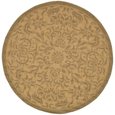 Short Light Natural Outdoor Rug Rug Size: Round 67