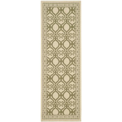 Short Natural/Olive Power Loomed Outdoor Rug Rug Size: Runner 24 x 67