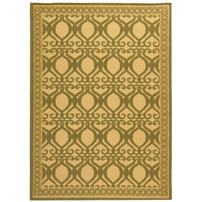 Short Natural/Olive Power Loomed Outdoor Rug Rug Size: 53 x 77