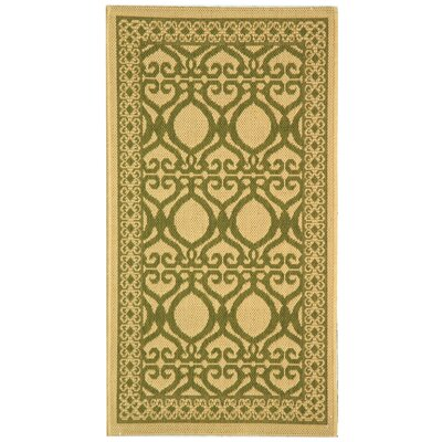 Short Natural/Olive Power Loomed Outdoor Rug Rug Size: Rectangle 27 x 5