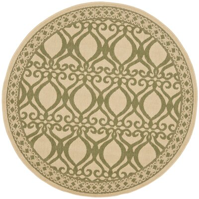 Short Natural/Olive Power Loomed Outdoor Rug Rug Size: Round 53
