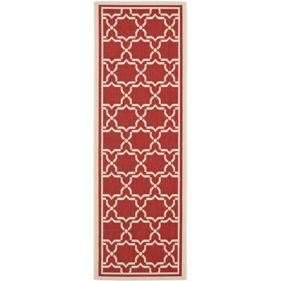 Short Red / Bone Indoor/Outdoor Rug Rug Size: Runner 23 x 8