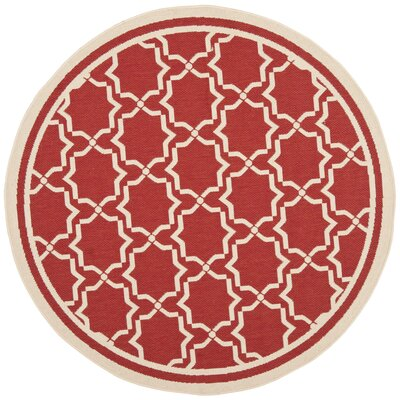 Short Red / Bone Indoor/Outdoor Rug Rug Size: Round 67