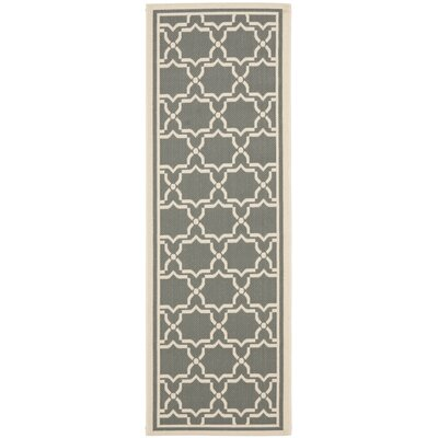 Short Anthracite / Beige Indoor/Outdoor Rug Rug Size: Runner 23 x 8