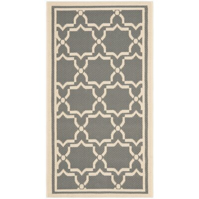 Short Anthracite / Beige Indoor/Outdoor Rug Rug Size: 53 x 77