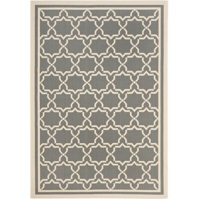 Short Anthracite / Beige Indoor/Outdoor Rug Rug Size: Runner 24 x 67