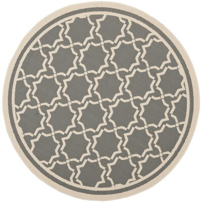 Short Anthracite / Beige Indoor/Outdoor Rug Rug Size: Round 67