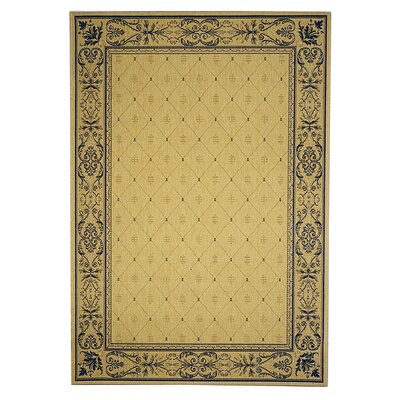 Short Natural / Blue Transitional Outdoor Area Rug Rug Size: Rectangle 4 x 57