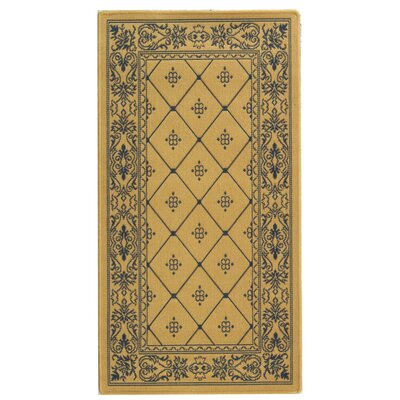 Short Natural / Blue Transitional Outdoor Area Rug Rug Size: Rectangle 27 x 5